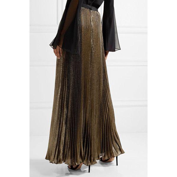 Reem Acra Sunburst pleated metallic silk-blend maxi skirt ($2,860) ❤ liked on Polyvore featuring skirts, brown maxi skirt, metallic pleated maxi skirt, long pleated maxi skirt, long fitted skirts and long pleated skirt