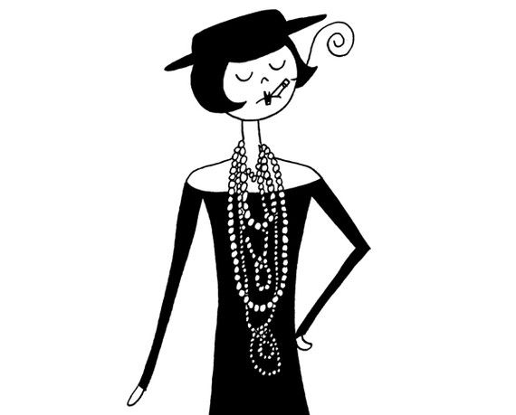 Coco Chanel in the 1920s // 4x6 fashion art print illustration