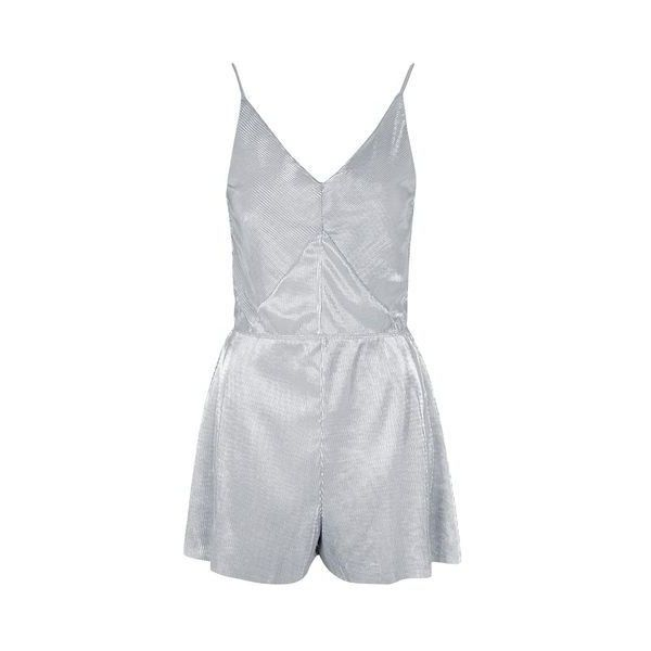 TopShop Metallic Pleated Playsuit (€46) ❤ liked on Polyvore featuring jumpsuits, rompers, silver, metallic romper, plunge romper, topshop rompers, topshop and topshop romper