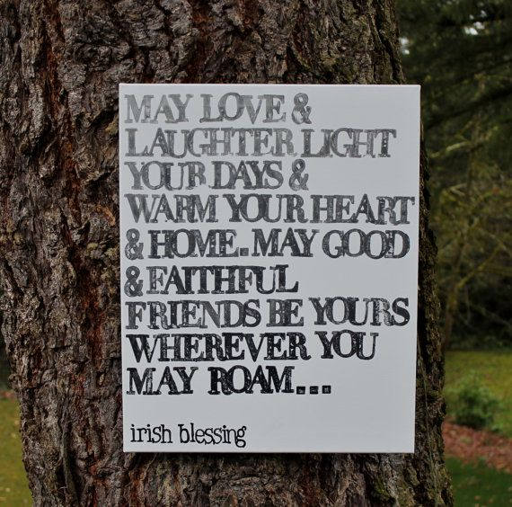 Sweet wedding gift or housewarming gift ombre grays 16x20 may love and laughter light your - House warming blessing ...