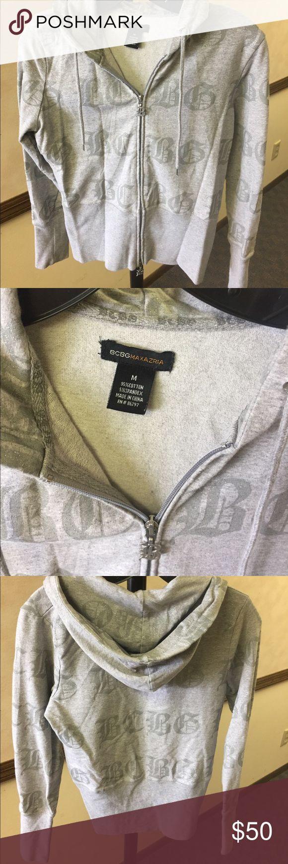 NWOT BCBG grey and silver hoodie NWOT BCBG grey and silver hoodie BCBGMaxAzria Tops Sweatshirts & Hoodies