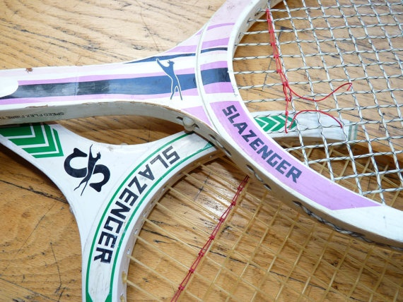 SLAZENGER TENNIS RACKETS Set of Two 2 Lilac and by VelveteenHabbit, $5.00