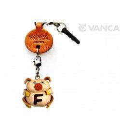Alphabet Pig F Leather Animal Earphone Jack Accessory