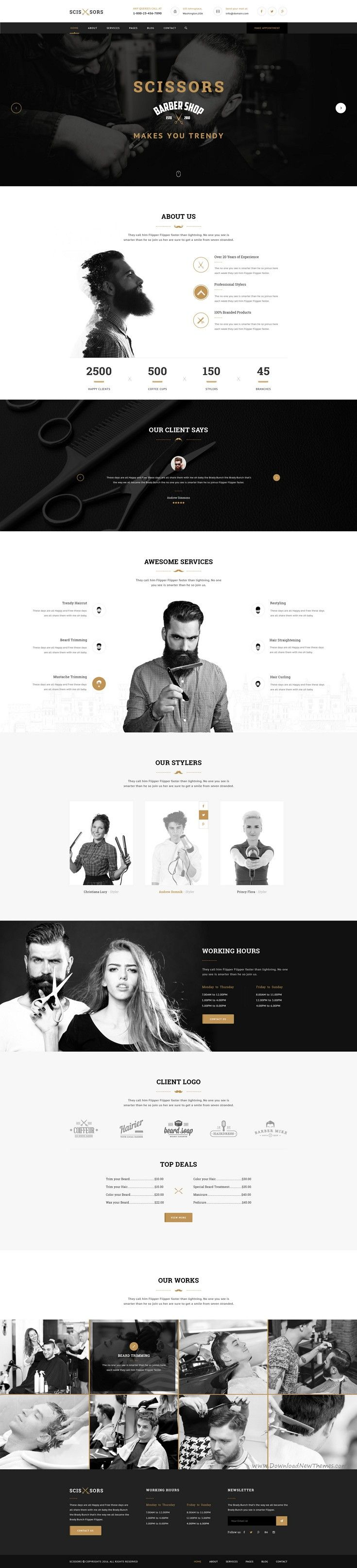 Scissors : Salon & Hair Styling PSD Template suitable for all types of #Salon and #Hair Styling businesses website. That Includes totally 20 Pages.