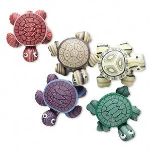 Magnet mix, polymer clay, assorted colors, 24x22mm turtle. Sold per pkg of 5.