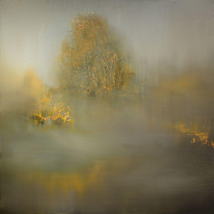 """""""Willow In Fog"""" oil on linen  24""""x24"""""""