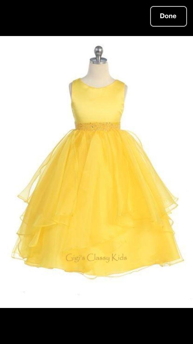 Yellow flower girl dress needs puple ribbon