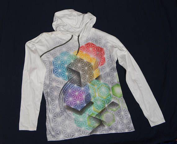 airbrushed long-sleeve hooded tee sacred geometry flower of