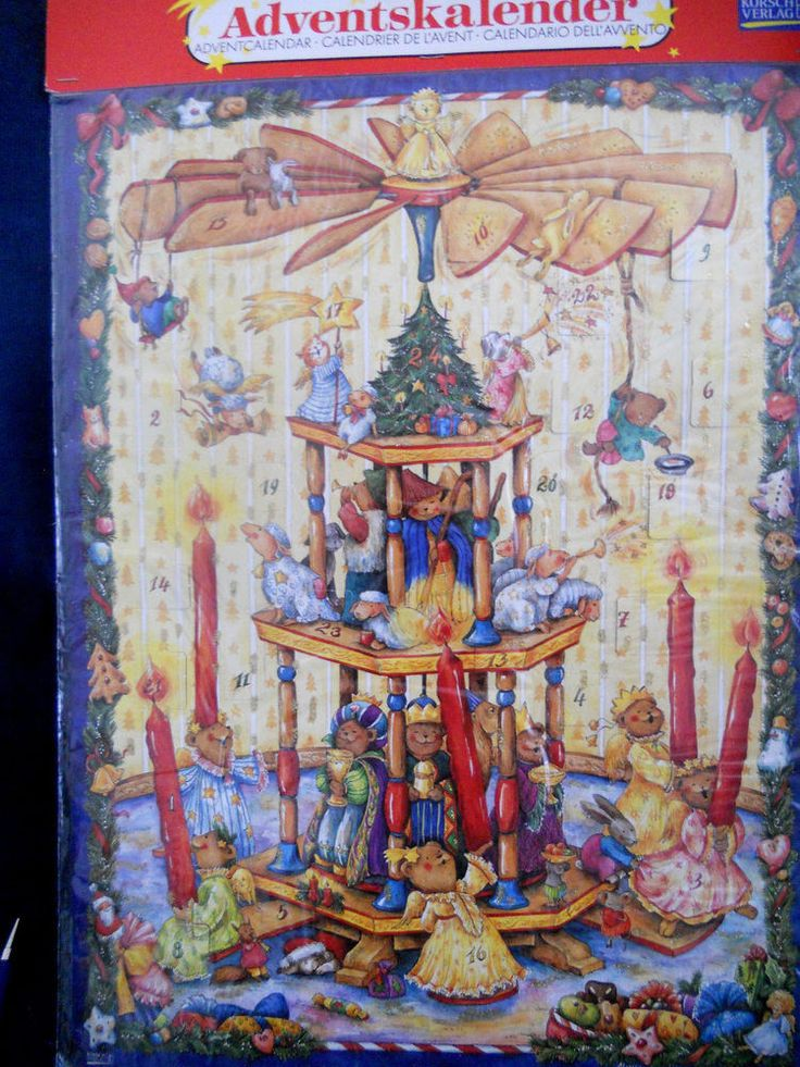 VINTAGE ADVENT CALENDAR GERMANY KORSCH VERLAG CANDLE WINDMILL wisemen angel bear #KorshVerlag