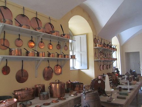 Inveraray Castle old kitchen.  Would love to have a few of those copper pots and pans!