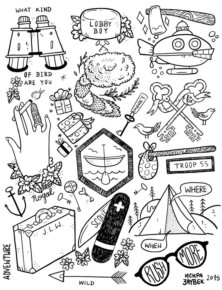 xsadiskrax:my second tattoo flash sheet…Wes Anderson themed tattoo flashesit was much fun drawing these