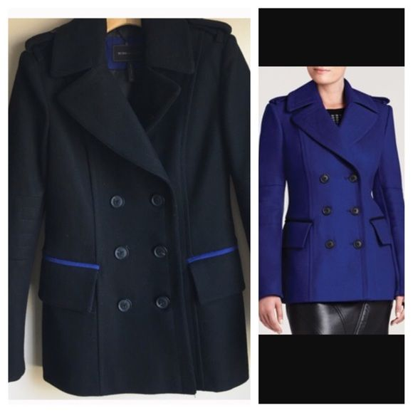 BCBG Pea Coat NEW Size Small Black Absolutely gorgeous. This black pea coat features chic blue detailing. Worn once for about 30 minutes. Size small. *Please note: my home is NOT smoke free* BCBGMaxAzria Jackets & Coats Pea Coats