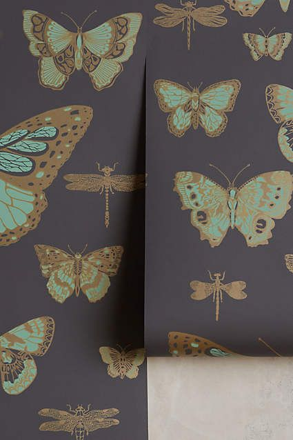 "ANTHROPOLOGIE Lepidoptera Wallpaper Color:: Carbon 33'L X 20.5""W = A Roll Covers:: 56.25 sq.ft. $218"