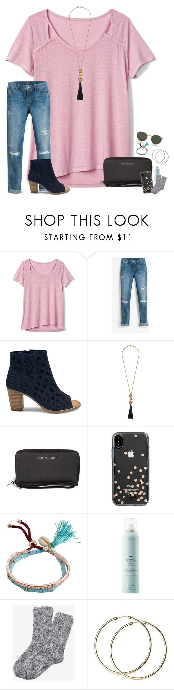 """""""~we facetimed for over 4 hours:)~"""" by taylortinsley ❤ liked on Polyvore featuring Gap, White House Black Market, TOMS, Kenneth Jay Lane, MICHAEL Michael Kors, Kate Spade, Billabong, Drybar, Express and Ray-Ban"""