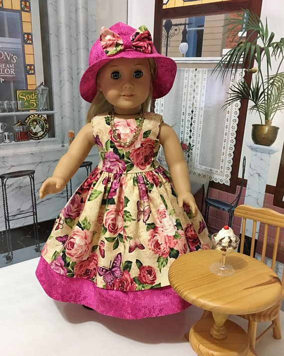 "Ensemble ""Butterflies and Roses"" spring dress, hat, slip, and necklace fits  dolls like American girl or similar sized 18 inch dolls"