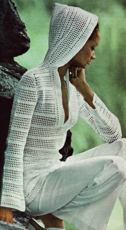 INSTANT DOWNLOAD PDF Vintage Crochet Pattern 1970s Hooded