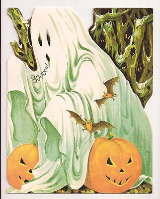 Vintage Halloween Greeting Card ~ Gibson Ghost w/ Jack O' Lantern's. Circa, 1950's.