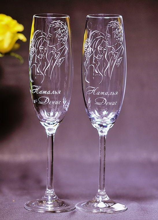 Гравировка на бокалах свадебных
