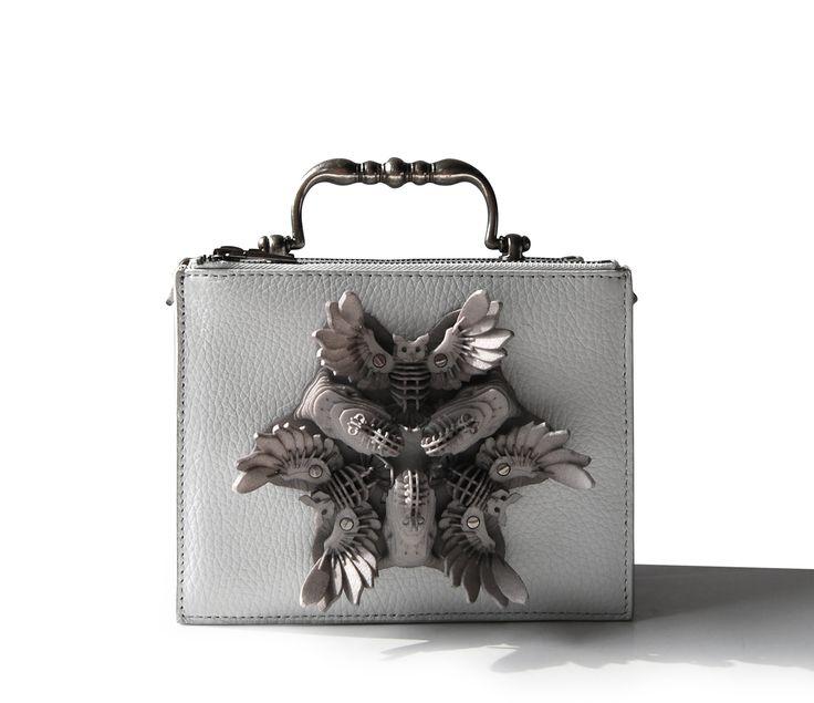 Elephants and Owls Flower, Exocet Paris hand-bag, 3D printing, Vintage handle