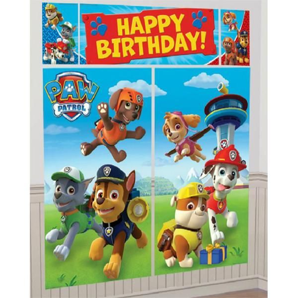 Set the scene for your Paw Patrol birthday party with this giant scene setter wall decorating kit that can be used indoor and outdoors. Great as a photo backdro