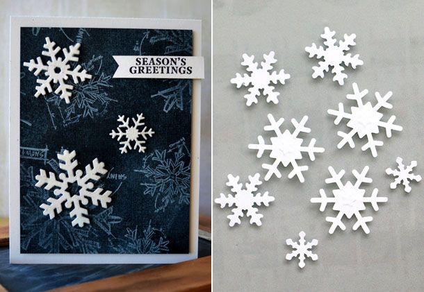 Открытка со снежинками на новый год