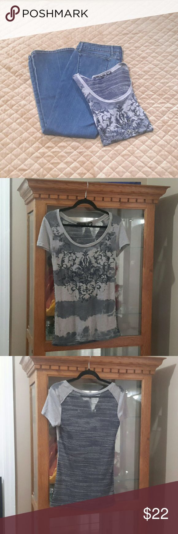 Miss Me Embellished Tshirt - in great used condition - blue & gun metal gray embellishments on front - sheer light & dark gray back - 50% Polyester, 50% Rayon Miss Me Tops Tees - Short Sleeve