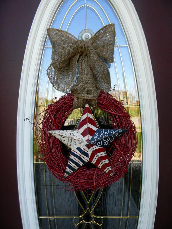 patriotic memorial day fourth of july   door wreath decor   u0026quot america u0026quot