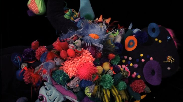 Detail of Jungle Jimmy. Tentacles and puppets made from felt and wool.