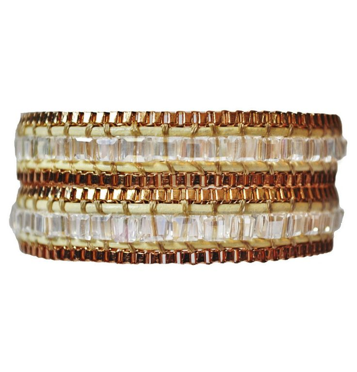 Wrap Boho Gold Leather Jewelry Bracelet. A simple chic gold & crystal beads make an elegant sexy appeal.  #Gold #Crystal #Jewelry #Accessories #Boho