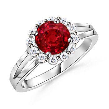 Angara Plush Ruby Ring in Platinum KCz04sKy