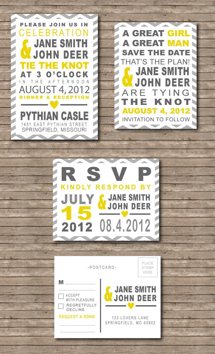 Wedding Invitation Set: Chevron Yellow Grey