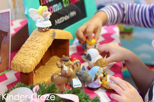 A Catholic school kindergarten teacher shares how her class celebrates the birth of Christ at Christmas with a nativity, sticker books, and stick puppets!