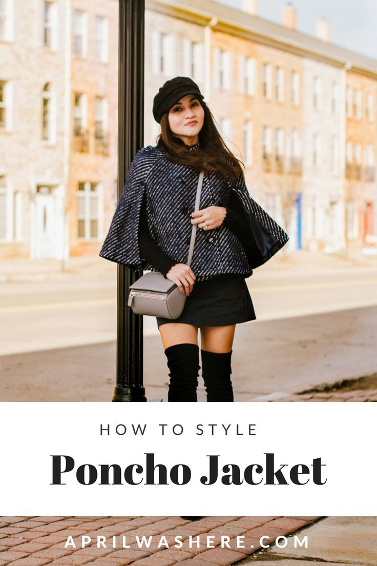 Styling your poncho jacket like a Parisian , over the knee boots and newsboy hat, stylish winter outfit