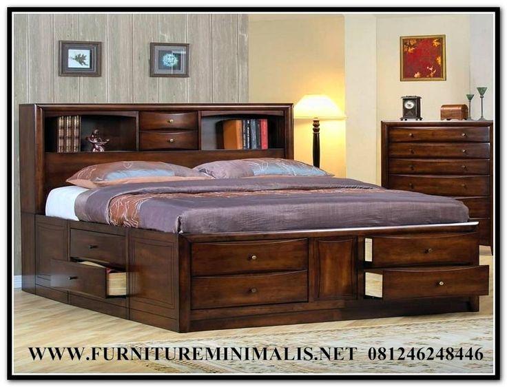 Jual Set Tempat Tidur Laci Natural Kayu Jati Murah | Tempat Tidur Baru - Furniture Minimalis Jepara