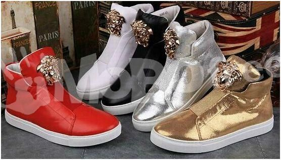 Versace Mens Leather Velcro High-top Sneakers. For sale: shoes, clothes, fashion and beauty in Surulere, Lagos, Nigeria