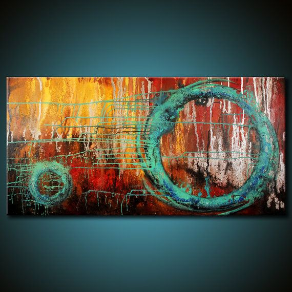 Modern Abstract Painting 48x24 Canvas Colorful por FariasFineArt