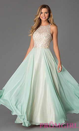 Floor Length Sleeveless Dress with Illusion Bodice by Dave and Johnny at PromGirl.com