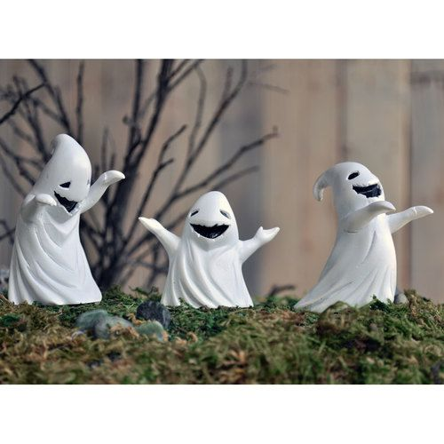 Ghost Posse (Set of 3) - These three frightening fellas... Well they seem too cute to be scary, BUT they do try. Scary souls. #fairygardeningaustralia