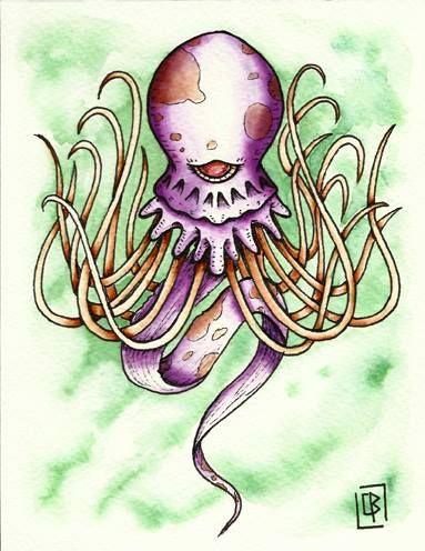 Calamar,pulpo,flash tattoo acuarela (13,5X17,5cm)