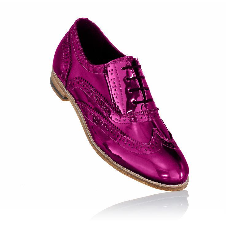 pink metallic brogue shoes
