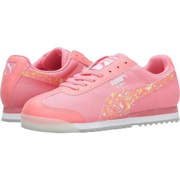 PUMA Roma Ripstop Clear Women's Shoes, Pink (74 NZD) ❤ liked on Polyvore featuring shoes, athletic shoes, pink, cushioned shoes, pink athletic shoes, puma shoes, lace up shoes and puma footwear