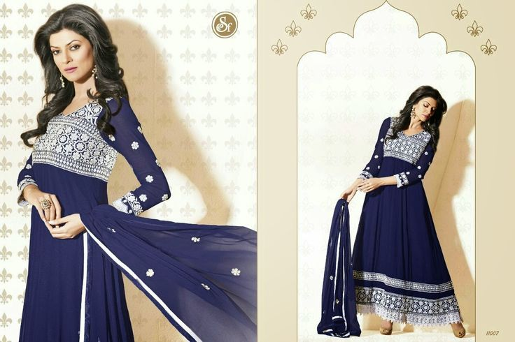 Anarkali, Blue and White Enbroidered with Net, write us at hello@thebollywoodbazaar.com for price enquiry.