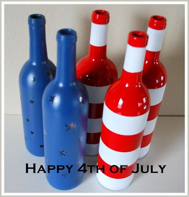 Paint a wine bottle and use as decor; I would cut off the bottoms and out a candle under them.