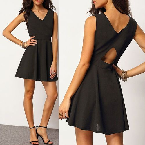 PinkCad Black Skater Dress With Cut Out Back £19.99 Shop Instore And Online www.pinkcadillac.co.uk