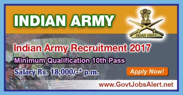 Indian Army Recruitment 2017 - Hiring Chowkidar and Safaiwali Female Posts, Salary Rs.18,000/- : Apply Now !!!  The Indian Army Recruitment 2017 has released an official employment notification inviting interested and eligible candidates to apply for the positions of Chowkidar and Safaiwali Female. The eligible candidates may apply to the posts in the prescribed format available in official website or in the official Advt. PDF below (can be download).