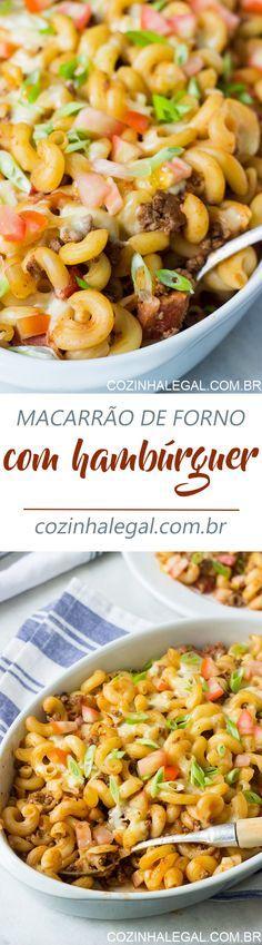Seu próximo almoço será o Macarrão de Forno com Molho de Hambúrguer Caseiro! Ele é a união perfeita entre hambúrguer e macarrão com muito queijo derretido. | cozinhalegal.com.br