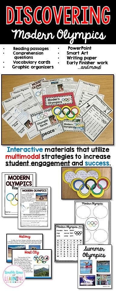 Modern Olympics Unit with PowerPoint   Get your students engaged with informational text by teaching a week long unit on the Modern Olympics! The materials in this unit are interactive and utilize multimodal strategies to increase student engagement and outcomes. The Modern Olympics unit is a comprehensive week long unit that integrates technology, vocabulary, writing, art, reading strategies and more!