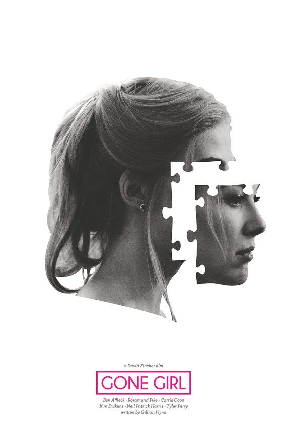Gone Girl Film Poster This is an original poster designed by me, the artist. Digitally printed on 80lb matte card stock. 11x17 inches. Frame NOT