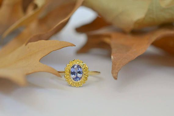 Tanzanite Gold Ring Solid 18k Gold Ring Christmas Gift