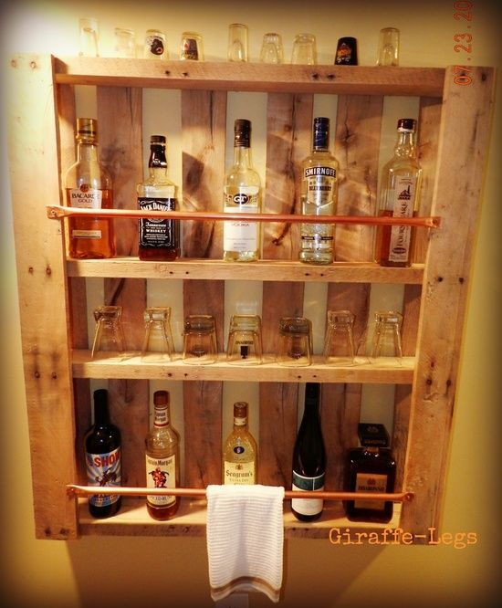 Pallet Bar. I like this idea. Should be fairly inexpensive too. Paint it red and place on a white wall for an IU Hoosiers candy stripe look.